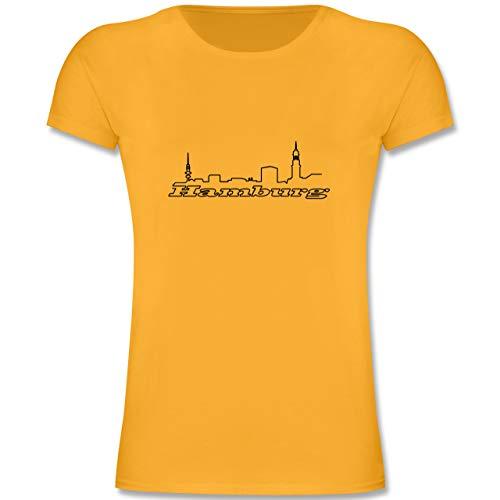 Städte & Länder Kind - Hamburg Skyline - 104 (3-4 Jahre) - Gelb - F131K - Mädchen Kinder T-Shirt