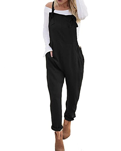 ACHIOOWA Women's Casual Baggy Loose Jumpsuit Playsuit Retro Sleeveless Trousers Pants Dungarees Plus Size