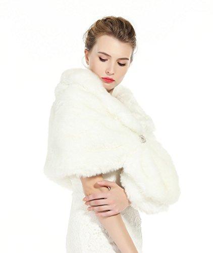 Donna Pelliccia Faux Scialle Coprispalle Giacca Sciarpa Wrap Cape Perfetto per Matrimonio Partito Spettacolo con spilla libera Avorio
