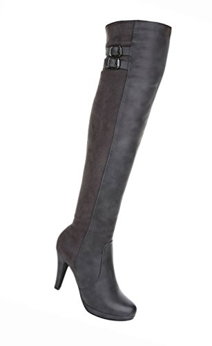 Damen Schuhe Overknee Stiefel High Heels Stiletto Schwarz Grau