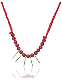 Junk N Jute Red And Gold Alloy Strand Necklace For Women (JunkNJute 8)
