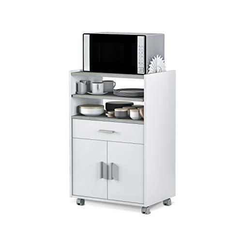 Habitdesign 0L9910O - Mueble auxiliar para microondas, mesa cocina con un cajón y dos puertas, color blanco y cemento, medidas: 92 x 59 x 40 cm de fondo