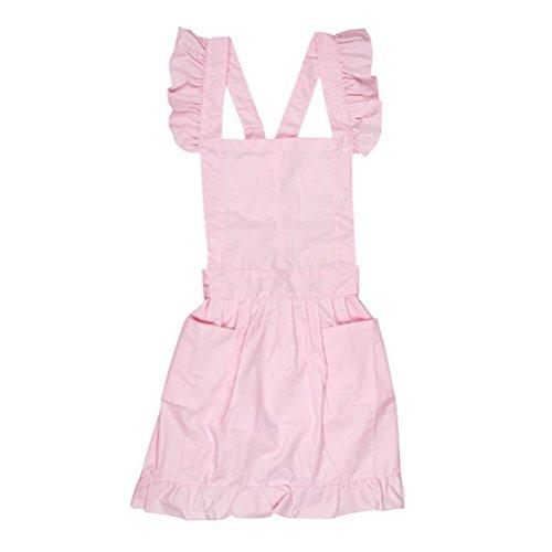 mhde Schürzen Dienstmädchen Kittel Kostüm Kleid Rüschentaschen (Pink) (Baby Bauer Kostüm)