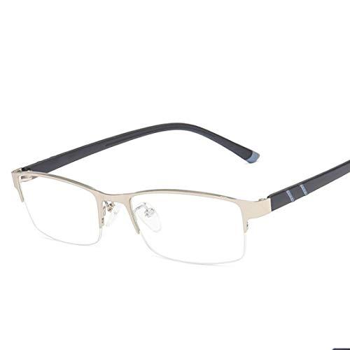 Mkulxina Metall-Business-Business-Blaue Brille quadratische Brille ultraleichte Mode-Computer-Brille für Frauen Männer (Color : Silver)