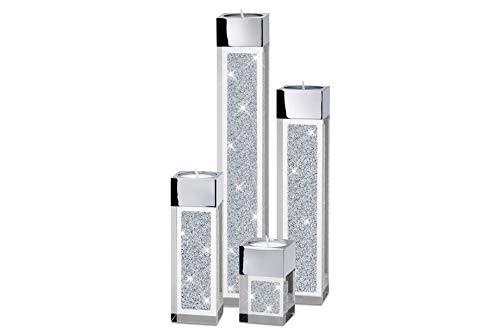 My IMPLEXIONS Moderne Teelichthalter Pylon 4er Set/Swarovski Elements Kristalle/Besondere Tisch-Dekoration