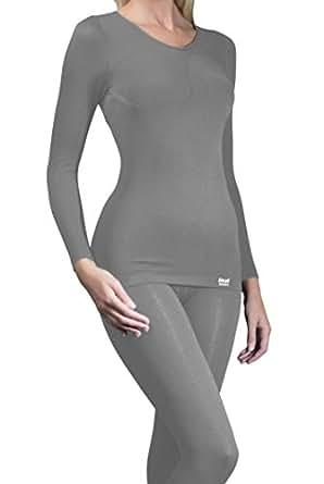 1 Nr Damen echte Original thermische warme Tog Wärmehalter Langarm-Unterhemd / T-Shirt - grau - Klein / Medium S / M