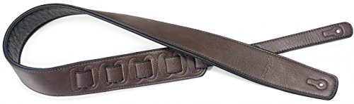 Stagg SPFL 30 DBRW Padded Leather Style Guitar Strap, Dark Brown