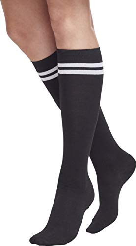 Urban Classics TB770 Damen Matt Fein Kniestrümpfe Ladies College Socks, Gr. 37/38 (Herstellergröße: 36-39), Mehrfarbig (blk/wht 50) - Muster-knie-hohe Socken