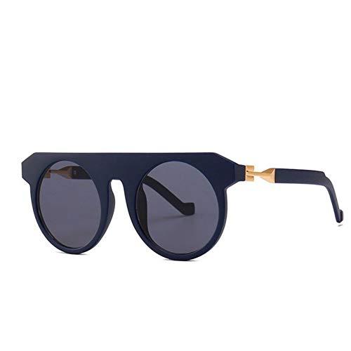 HYUHYU Vintage Punk Runde Sonnenbrille Herren Flat Top Gothic Sonnenbrille Frauen Einzigartige Scharnier Design Sonnenbrille Für Männlich Weiblich Cool