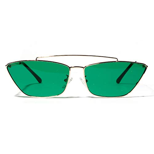 Daawqee Ladies Cat Eye Sunglasses Green Lens Small Metal Frame Black For Women Men Girl Vintage Sun Glasses Metal Fashion NEW as in photo gold with pink