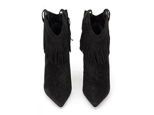 Bottines à talon Saint Laurent en peau retournée noir - Code modèle: 404572 C2000 1000 Noir