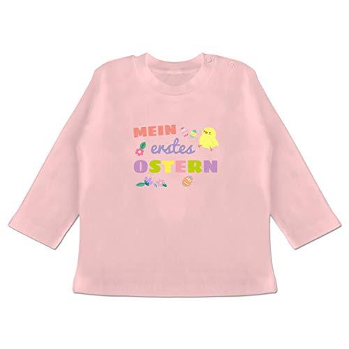 Küken Mädchen T-shirt (Anlässe Baby - Mein erstes Ostern Mädchen - 3-6 Monate - Babyrosa - BZ11 - Baby T-Shirt Langarm)
