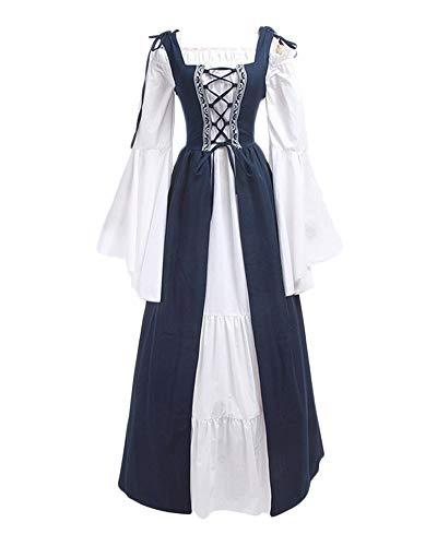 Frauen Kostüm Mittelalterliche - DianShaoA Damen Mittelalter Kleider Viktorianischen Königin Kleid Cosplay Kostüm Langarm Kleid-Gothic Jahrgang Prinzessin Renaissance Bodenlänge Dunkelblau M