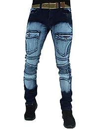 c3a4f202c318a6 Peviani Mens Slim Fit Bleached Biker Cargo Combat Style Jeans