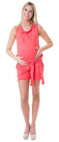Divita Umstandsoverall Overall Einteiler Pregnancy Jumpsuit Umstandsmode Sommer D70 (S/M, Koralle)