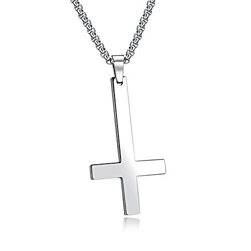 PAURO Herren Edelstahl Inverted Kreuz Von Saint Peter Halskette Anhänger Charme Mit 22 Zoll Kette Poliert Silber