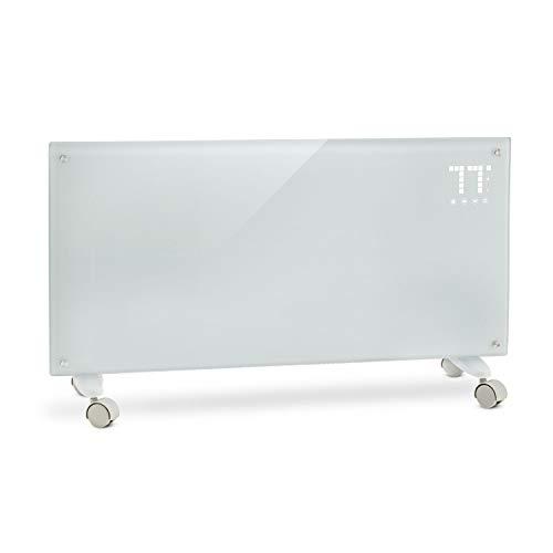 Klarstein Bornholm • Radiador eléctrico • Calefactor de Vidrio • Convector • 2000 W • Panel táctil LED • Mando Distancia • 2 Niveles Calor • Modo Eco • Temporizador 24 h • Control Parental • Blanco