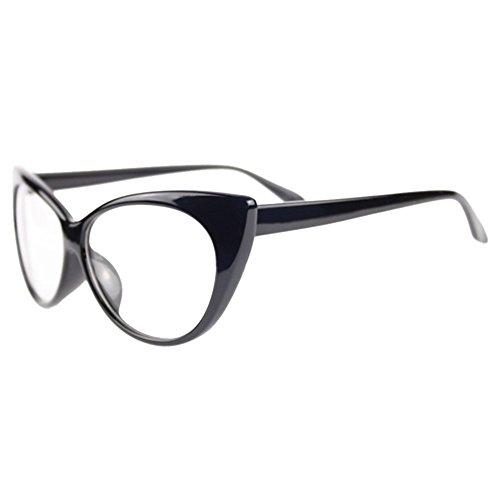 Bluelans Klarglas Cateye Brille Damen Vintage Damenbrillen in verschiedenen Farben (Schwarz)