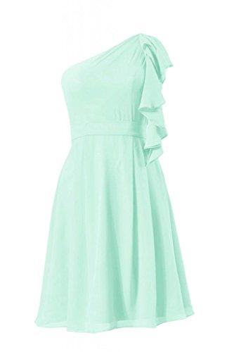 daisyformals une épaule en mousseline de soie robe de mariée vintage robe de cocktail (BM261) Vert - #34-Mint