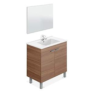 ARKITMOBEL – Mueble de baño LC, modulo 2 Puertas con Espejo Acabado en Color Nogal, Medidas: 80 cm (Largo) x 80 cm (Alto) x 45 cm (Fondo)
