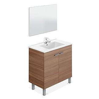 31PH2DAHPxL. SS324  - ARKITMOBEL 305480N - Mueble de baño LC1, modulo 2 Puertas con Espejo Acabado en Color Nogal, Medidas: 80 x 80 x 45 cm de Fondo
