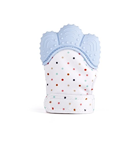 MonkeyTots Teething Mitten Baby Soother Glove - Pain Relief Remedy for Sore Gums and Cutting Teeth, Gel Applicator for Babies Mouths Suitable from 2 months to Toddler (Pastel Blue)