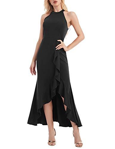 ANGGREK Damen Lang Kleider 50s Vintage Abiballkleider Partykleider Neckholder Hochzeit Partei Kleid Neckholder-kleid