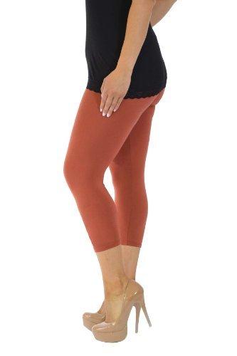 Neu Damen Übergröße Ebene Geerntet Gamaschen Frau Ladies Plus Size Cropped Leggings Nouvelle Collection Rost