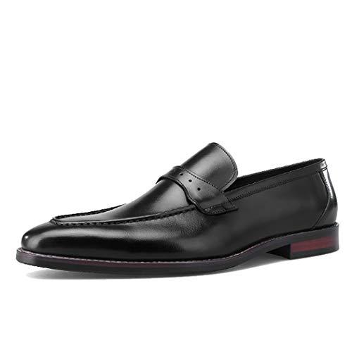 MYXUAA Herren Brock Loafers Fashion Retro Leder Schuhe Bequeme Fahrschuhe-black-EU43/US10/UK9 -