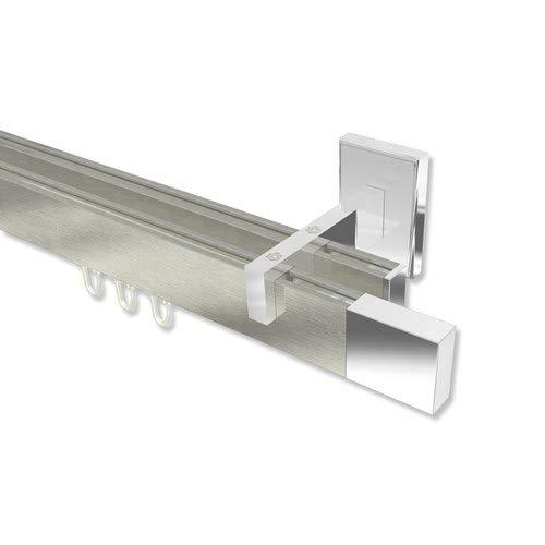 INTERDECO Innenlauf-Gardinenstange eckig Edelstahl Optik/Chrom zweiläufig Smartline Lox, 120 cm