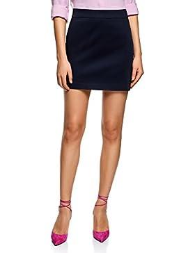 oodji Ultra Mujer Minifalda de Tejido de Algodón
