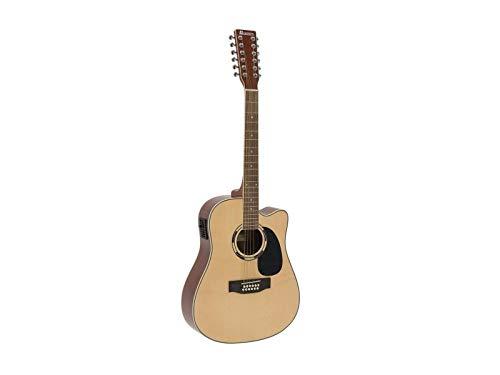 showking 12 - saitige Western Gitarre TENVER, Zwölf Stahlsaiten, Natur - 12 - Saiter Gitarre für Beginner und Fortgeschrittene