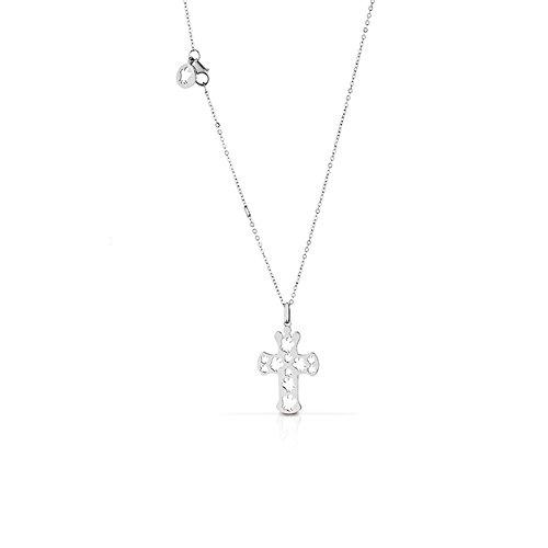 Collana con pendente a croce traforato in oro bianco ROBERTO GIANNOTTI NKT210B