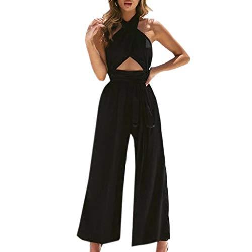 MORETIME Femme Combinaisons Body Sexy Nouveau Produit été 2020 Pas Cher Pantalon Large de Vacances pour Femmes à la Mode Combi-Pantalon Pantalon Large à Bretelles croisées à la Mode pour Femmes
