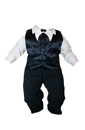 Taufanzug Baby Junge Kinder Hochzeit Anzüge Festanzug, 4tlg , Marineblau-Weiß K15 Größe 74
