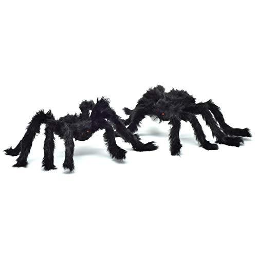 Lvydec Halloween Riesenspinnen-Dekoration, Fake Spider Red Eyes biegbare Beine, Gruselige haarige Spinne Outdoor Halloween Dekoration 2 Pack 20'' Spider