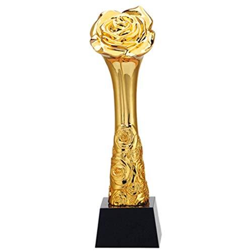ATLT Trofei, medaglie Premi Trofeo per lo styling dei fiori di rose in resina dorata con trofeo di cristallo nero Premi per la cerimonia di premiazione,Oro + Nero,8 * 8 * 29.5cm