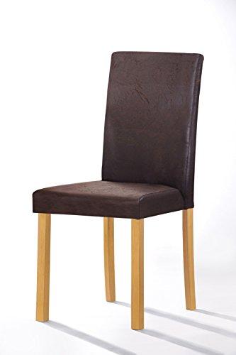 SAM® Polster-Stuhl Billi, Esszimmer-Stuhl, Antik-Optik, Dunkelbraun, Massive Holzbeine in Buche, Design-Stuhl, Küche und Esszimmer -