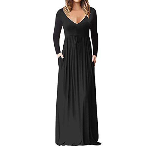 Komise Frauen Casual Ärmel V-Ausschnitt Solide Maxi Tank Langes Kleid(Schwarz,L) (Schwarzen Halloween-kostüm Kleid Womens)