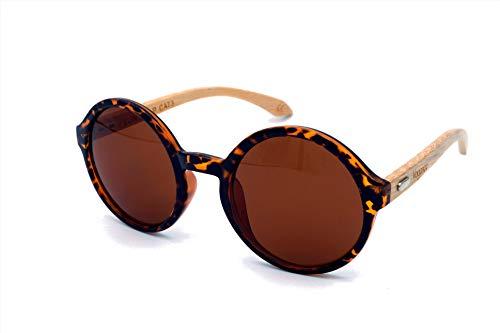 Vagance Bambus Sonnenbrille mit Holz Brillenbox (leopard, braun)