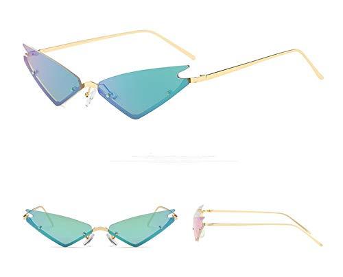 WSKPE Sonnenbrille,Die Kleine Katze Auge Sonnenbrille Frauen Brillen Weiblichen Metall Dreieck Gläser Farben Uv400 Gold Frame,Grüne Linse