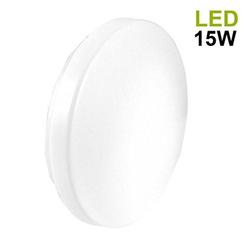 LED Deckenleuchten Kaltweiß | B-right 15W Deckenlampe, Deckenstrahler, Badleuchte, Kaltweiß, 5000K-6000K,180° Abstrahlwinkel, LED Deckenbeleuchtung für Wohnzimmer, Schlafzimmer, Badezimmer