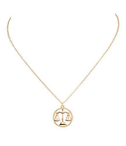 Sternzeichen, Waage, Statement Kette, Anhänger, Symbol, Gold (758-927) ()