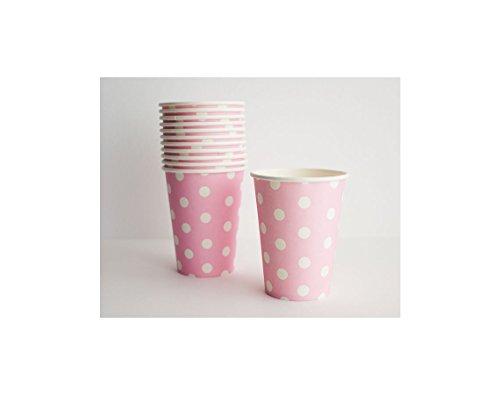 (kraftz® – 10 Polka Dot Papier-Brillen Trinken Einweg Geschirr Hochzeit Geburtstag Dekorationen rose)