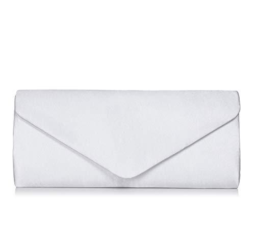 VINCENT PEREZ, Clutch, Abendtaschen, Umhängetaschen, Unterarmtaschen aus Satin, mit abnehmbarer Kette (120 cm), 26x10x5,5 cm (B x H x T) (Weiß) - Satin Damen Abend Tasche