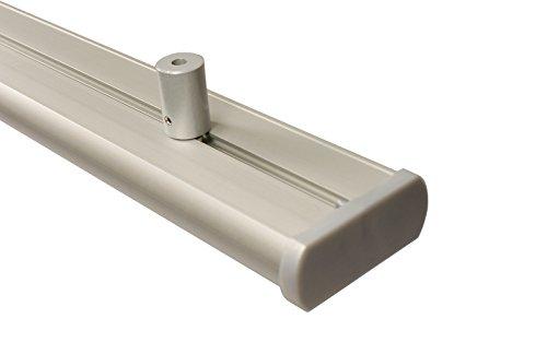 Aluminium Gardinenschiene 3 läufig in alu silber mit Deckenträgern, 120 cm