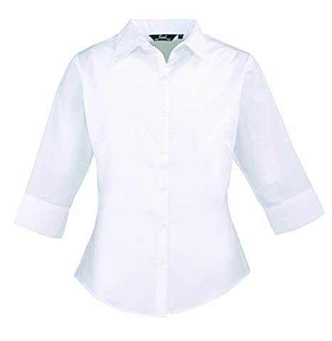 Premier Ladies 3/4 Sleeve Poplin Blouse SIZE 12 COLOUR White