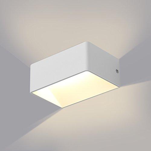GHB 7W LED Wandleuchte Wandlampe Rechteck Wandbeleuchtung Up und Down Design 2700K Warmweiß