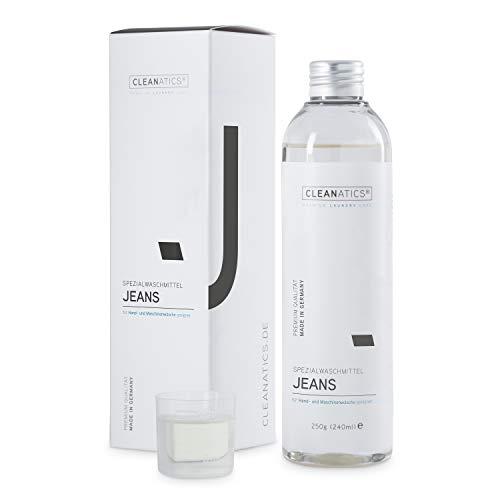 CLEANATICS Denim-Waschmittel Konzentrat für Jeans Hosen, Jeansjacke, Jeansrock, Jeanskleid, Jeanshemd, Denim Shirt - kein Verblassen der Waschung - angenehm frischer Duft (250 g)