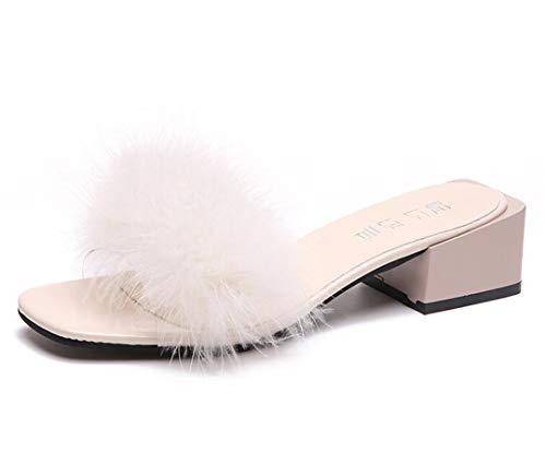 HULIMAOSER Frauen pelzigen Hausschuhe Damen niedlichen Plüsch Flauschigen Hausschuhe Fell HausschuheFalse Hair 12 White 6.5
